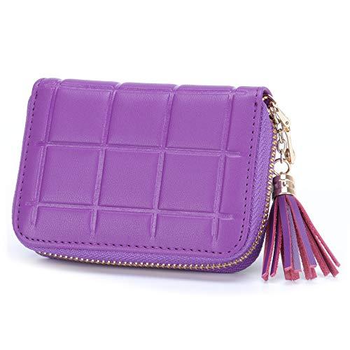 546da4cb4364 MuLier Genuine Leather Zipper Purse Tassels Anti RFID Credit Card Holder  Small Wallet (Purple)
