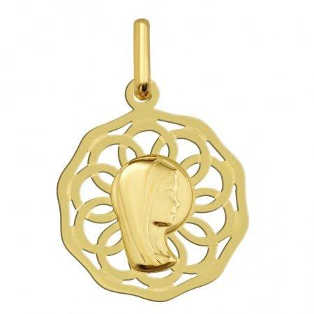 VIERGE MARIE AJOUREE - Médaille Religieuse - Or 18 carat - Hauteur: 20 mm - www.diamants-perles.com