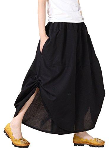 Mordenmiss Women's New Elastic Waist Wide Leg Pants With Pockets Style 1 Black One - Waist Drop Skirt Cotton