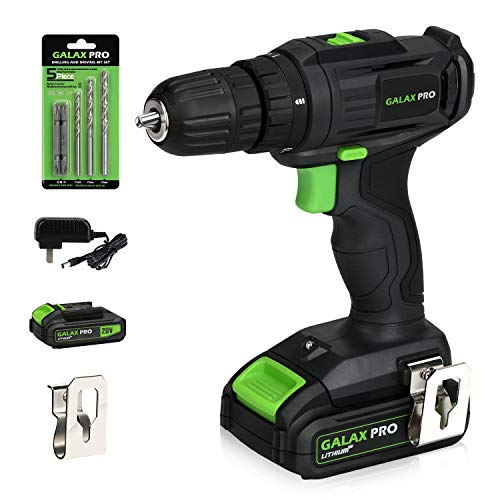 "Cordless Drill, GALAX PRO 3/8"" Compact Drill 20V MAX Lithium-Ion Drill/Driver, 2-Speed Electric Drill with 19+1 Torque Setting, 1Pcs 1.3Ah Battery, LED Work Light for Home Improvement & DIY Project"