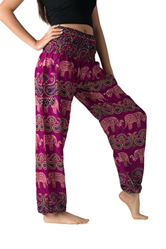 Bangkokpants Women's Casual Pants Harem Bohemian Clothes Hippie Boho Yoga Outfits Smocked Waist (Gypsy Purple, One -