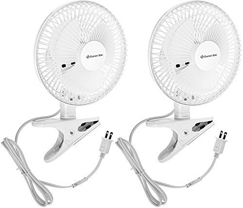 Comfort Zone CZ6C 6-Inch 2-Speed Clip-On Fans (White, 2 Pack) (Leader Fan)