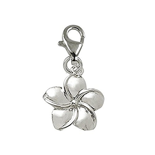Plumeria Clasp Bracelet - Sterling Silver Plumeria Flower Charm With Lobster Claw Clasp, Charms for Bracelets and Necklaces