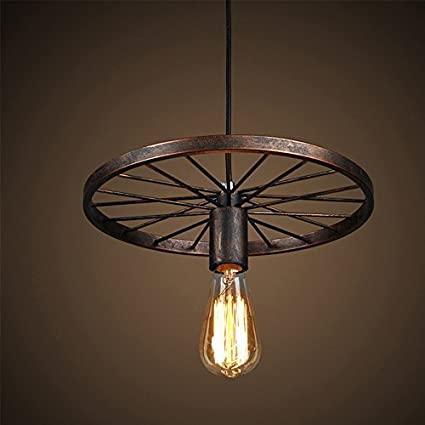 NAVIMC Industrial Rustic Wagon Wheel Chandeliers Pendant Light Fixture For  Kitchen Island,Dining Room (