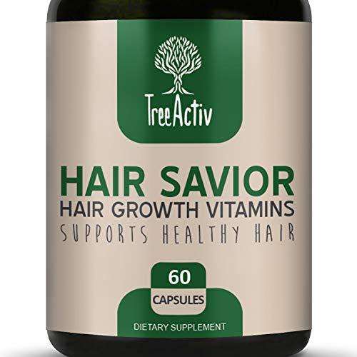 (TreeActiv Hair Savior | Hair Growth Vitamins | Natural Herbal Treatment Complex for Men and Women | Biotin Horsetail Kelp Bamboo Extract MSM Saw Palmetto Inositol Folate (60 Pills / 30 Day Supply))
