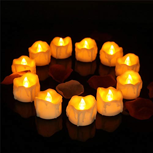 ering with Timer Battery Operated, Amber Yellow Flameless Candle Timer for Halloween Window Decorations, Christmas Tree, Indoor Decoration (12pcs) ()