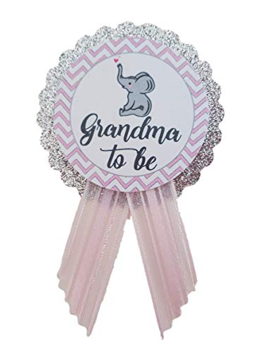 Grandma to Be Pin Elephant Baby Shower Pin for nona to wear, Pink & Gray, It's a Girl Baby Sprinkle ()