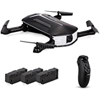 Ruhiku GW JJRC Selfie Drone Toy, JJRC H37 Mini BABY ELFIE WIFI FPV 720P Camera Quadcopter Foldable G-sensor Altitude Hold Headless Mode Includes 3 batteries