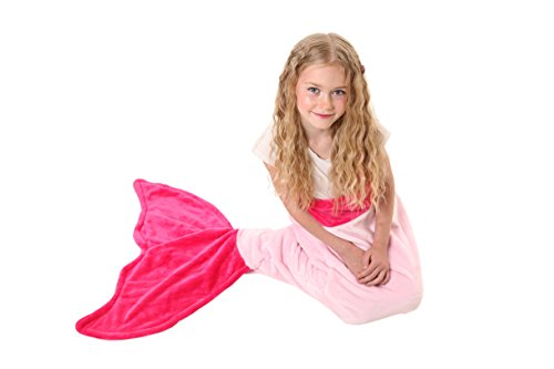 [Mermaid Tail Blanket - Soft and Warm Polar Fleece Fabric Blanket by Cuddly Blankets for Kids and Teens (Ages 3-12) (Hot Pink and Light] (Costumes Ideas For 4)