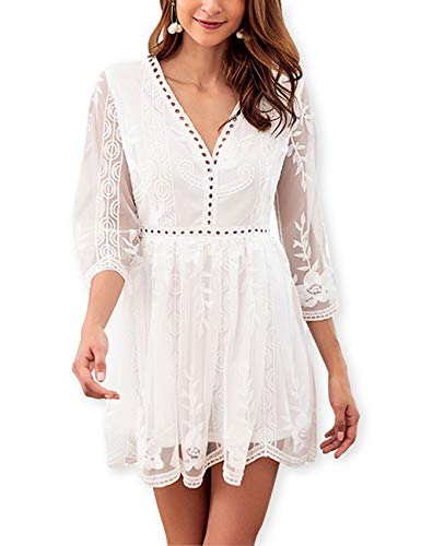 AOOKSMERY Women's Cute Lace Embroidery 3/4 Sleeve Dress Deep V Neck Hollow Mini Party Dresses White ()