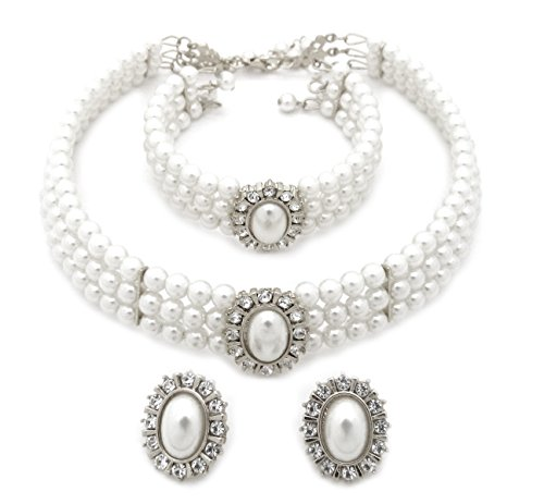 Fashion 21 3 Rows Rhinestone Trimmed Simulated Pearl Choker Necklace, Bracelet, Pierced Earring 3 Set (White)
