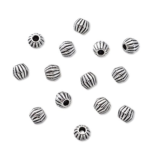 (Pandahall 100pcs Tibetan Style Silver Antique Silver Bicone Bead Spacers Charms for Jewelry Makings Lead Free Cadmium Free Nickel Free 4x4.5mm Hole:)