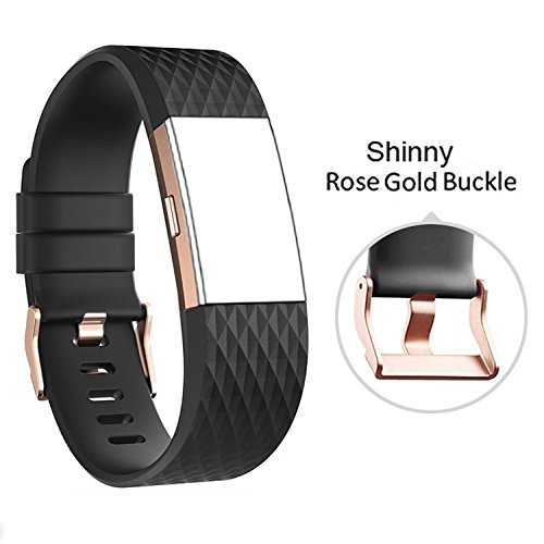 DB Charge 2 sai070 Band with Rose Gold Buckle for Fitbit Charge 2 Wrist Band Classic Fitness Flex Adjustable Colorful Fashion Sport and Sleep Clasp Bracelet Replacement Accessories