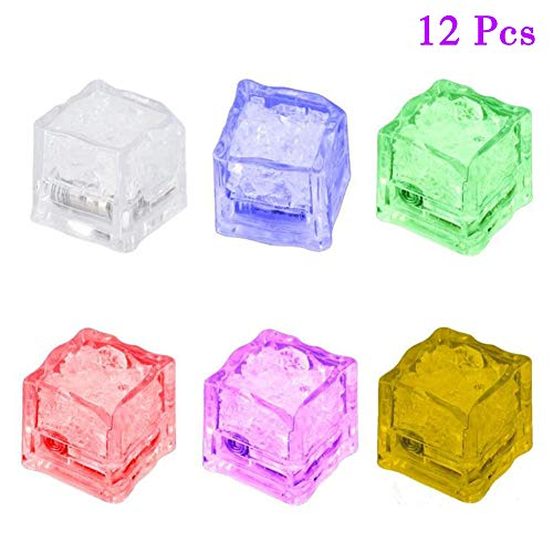 Simulation Ice Cube Lights,Multicolor Water Submersible LED Liquid Sensor,12pcs Plastic Luminous Ice Cube with Colorful Light for Wedding Party Bar Club Champagne