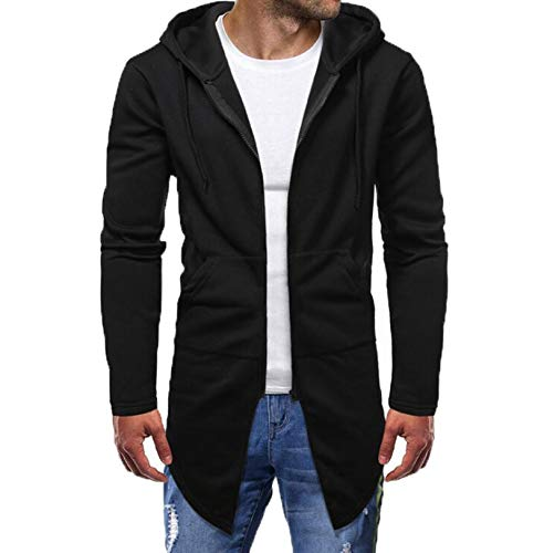 Men's Casual Zip Up Hoodie Jacket Long Hooded Sweatshirt Fashion Autumn Winter Cardigan Outwear with Pockets