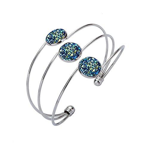 CHUYUN Women's Safety Polished Multiple Wire Copper Adjustable Width Open Vintage Cuff Bangle Bracelet Pink Stars Beads Bracelet (silver (Enamel Silver Vintage Bracelets)