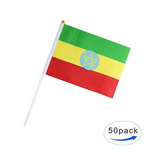 50 Pack Hand Held Small Mini Flag Ethiopia Flag Ethiopian Fl