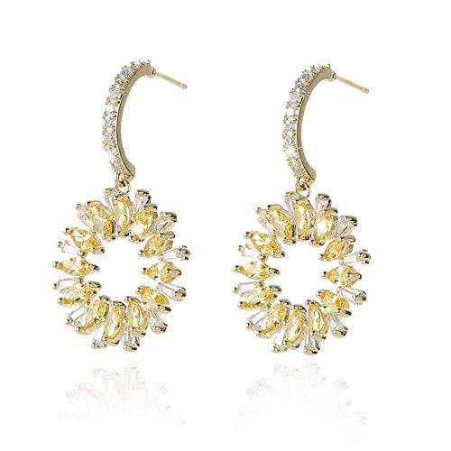 BBL Sunflower Charm Cubic Zirconia Dangle Earrings for Women Yellow Flower Sparkling CZ Crystal Plated 925 Sterling Silver Jewelry Earring Ear Pendant Handmade Dainty Brilliant Gemstone Drop Dangle ()