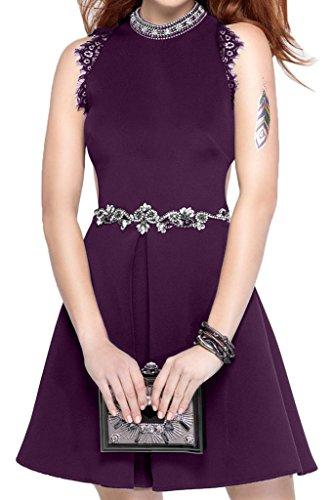 Violett Promkleid Damen Abendkleid Ivydressing Satin Sweetheart Festkleid Steine Rundkragen Partykleid Guertel Rxv0qn