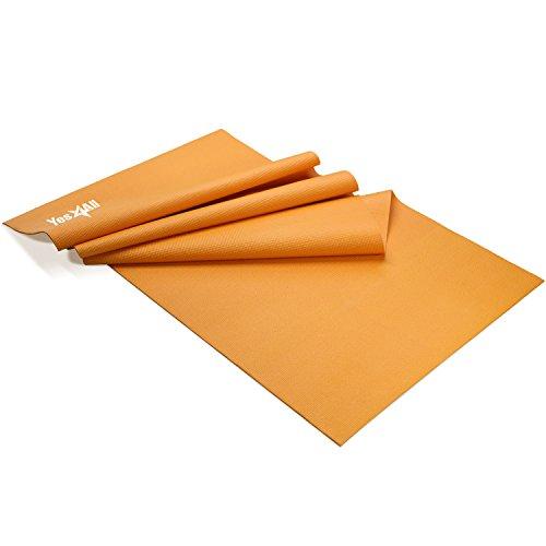 Yes4All PVC Yoga Mat / Exercise Yoga Mat for Pilates, Workout, Travel – Non Slip Yoga Mat / Yoga Floor Mat (3mm, Orange)