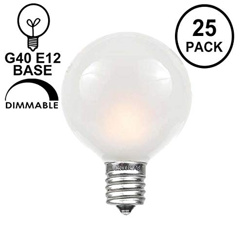 (Novelty Lights 25 Pack G40 Outdoor Globe Replacement Bulbs, Frosted White, C7/E12 Candelabra Base, 5 Watt)