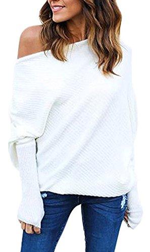 BLINGLAND Women's Off Shoulder Loose Pullover Sweater Knit Jumper White L