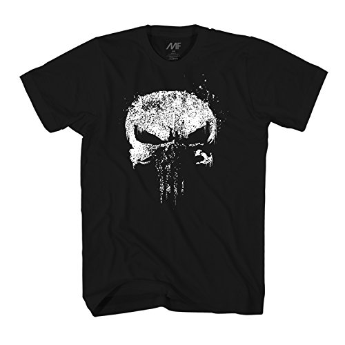Marvel The Punisher Netflix Dirty Skull Vest Logo Adult T-Shirt (Large, Black)
