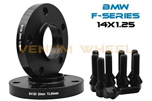 BMW F-Series 5x120 MM Black Hub Centric Wheel Spacers 72.56 Hub Bore W/ 14x1.25 Black Lug Bolts Fits: F30 F31 320 328 335 F80 M3 F32 F82 M4 435 F22 F23 228 235 F10 528 535 M5 F11 (20 MM, 2 PC BLACK)