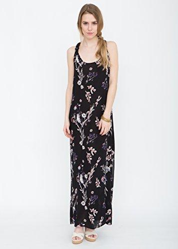 Maxi vestido camisero con espalda en T estampado floral