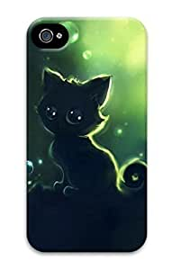 3D Hard Plastic Case for iPhone 4 4S 4G,Black Kitty Cat Case Back Cover for iPhone 4 4S