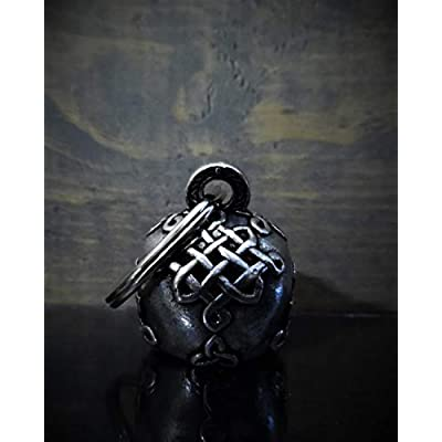 Celtic Skull Motorcycle Biker Bell Accessory or Key Chain for Luck: Automotive