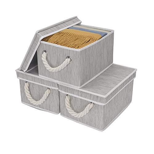 StorageWorks Storage Bins, DVD Storage Box with Lid and Cott