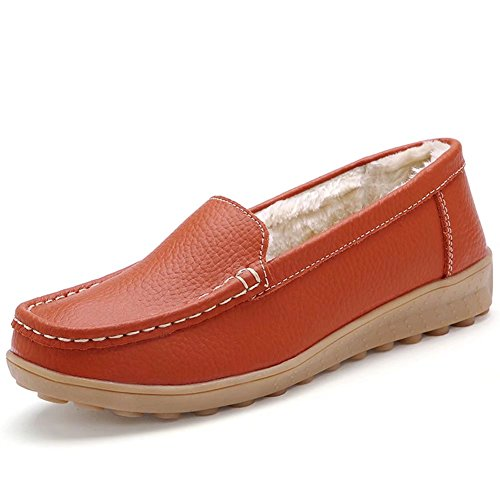 CIOR Damen Leder Casual Loafer Schuhe Mokassin Flache Slip-on-Hausschuhe Orange
