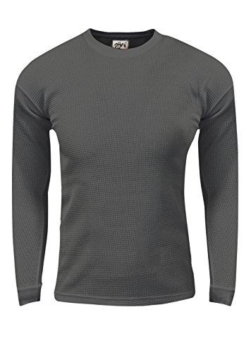 - Shaka Wear TC22_L Thermal Long Sleeve Crewneck Waffle Shirt D.Grey L