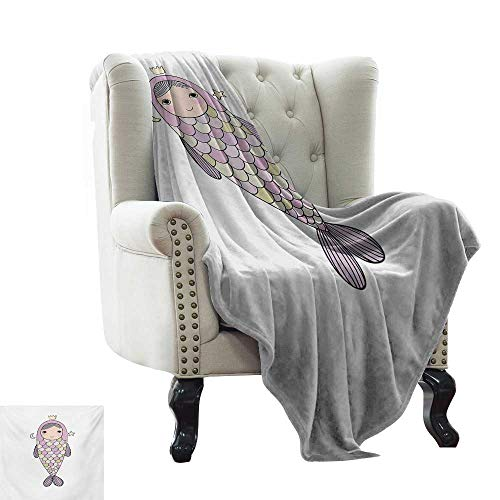 LsWOW Grey Throw Blanket Mermaid,Fantasy Sea Life Mythological Character Girl in Fish Costume with Crown Moon Stars,Multicolor Colorful,Home,Couch,Outdoor,Travel Use 60