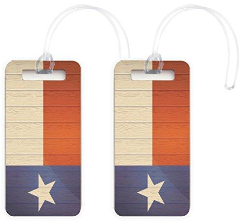 Rikki Knight Texas Flag on Distressed Wood Design Luggage Identifier Tags (Set...
