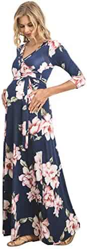 4f2e3123b35 Hello MIZ Women s Faux Wrap Maxi Maternity Dress with Belt - Made in USA