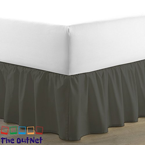 TheOutNet Collection Egyptian Cotton 750TC 1 Piece Single Ruffle Bed Skirt Full-XL Size 9'' Inch Drop Length Dark Grey Solid