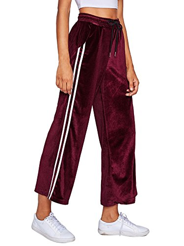 SweatyRocks Women's Drawstring Waist Striped Side Velvet Wide Leg Pants with Pockets One Size Burgundy (Striped Workout Pant)