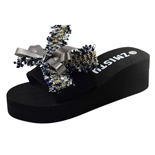 Benficial Women's Summer Beach Shoes Word Drag Casual Sandals Non-Slip Wild Flowers Wedges Beach Shoes 2019 Summer New Gray