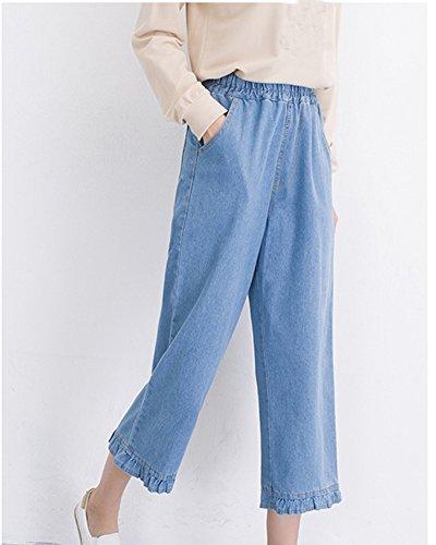 Chiaro Femminili Grandi Pantaloni Ginocchio Del Straight Larghi Alta Vita Jeans Donne In Azzurro Denim Sciolto 1zqw61