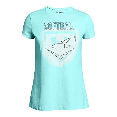 Under Armour Girls' Softball Logo T-Shirt, Blue Infinity/White, Youth Small (Girls Shirts Under Armour)