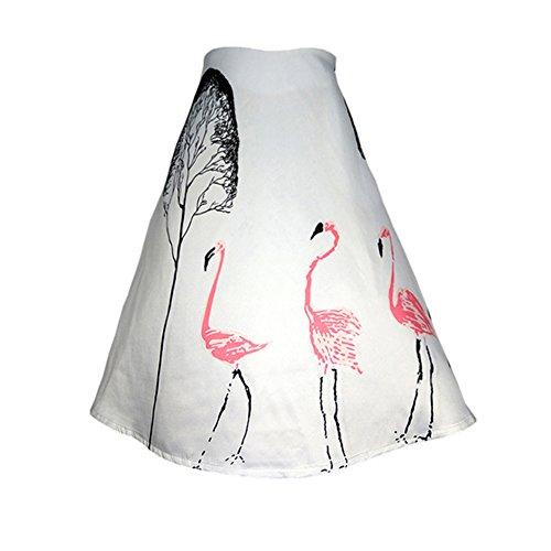Une Robe Jupe LRUD Cygne Blanc Short Arbre Haute Balan Impression Aux Ligne Genou oire Taille Femmes RRqwp6O0