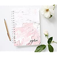 Personalized Spiral Notebook, Marble Notebook Journal, Pink Lined Notebook,