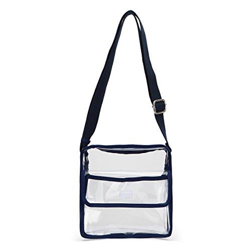 Medium Clear Shoulder Messenger Bag - NFL Stadium Approved Crossbody - Multiple Pockets - Adjustable Shoulder Strap