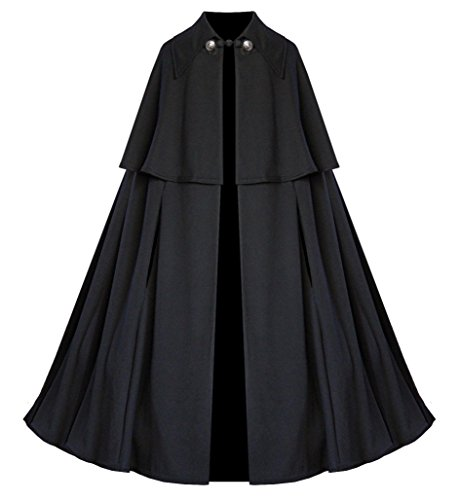 Cykxtees Victorian Vagabond Historical Steampunk Gothic Renaissance Cape Cloak Black