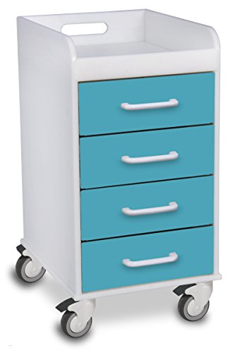 TrippNT 51086 Polyethylene Compact Locking Cart, 14'' Width x 27'' Height x 19'' Depth, 4 Drawers, Bahamas Sea by TrippNT