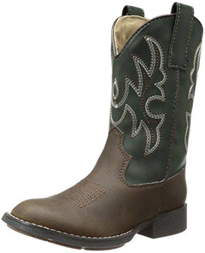 Roper R Toe Basic Western Boot Western Boot (Toddler/Little Kid),Brown/Green,2 M US Little Kid - Basic Western Boot