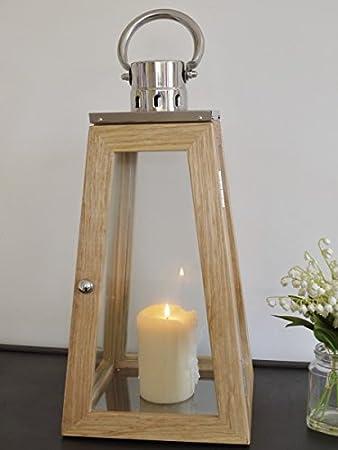 Elegant 56cm Tall Oak Effect Wood U0026 Chrome Obelisk Lantern Candle Holder ~ Garden  Or Indoor