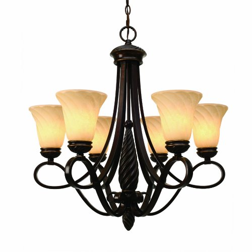 Golden Bronze Tone Finish - Golden Lighting 8106-6 CDB Torbellino Six Light Chandelier, Cordoban Bronze Finish